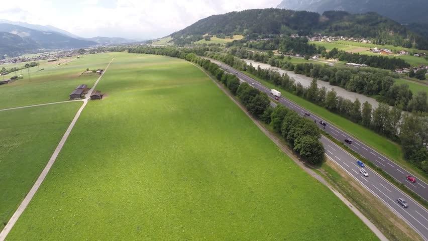 Freeway going through a Valley - Aerial Flight    Shutterstock HD Video #8619043