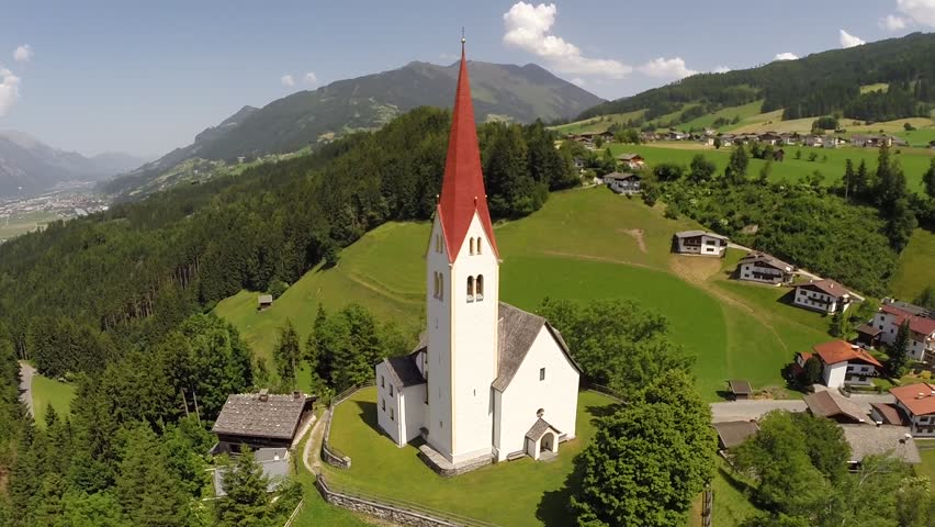 Church with red roof on a Hill - Aerial Flight  | Shutterstock HD Video #8619070