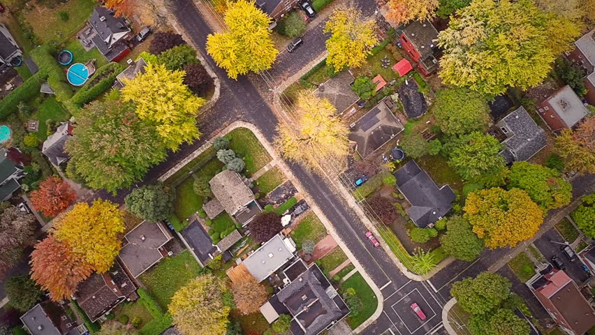 Top Suburban View of Montreal and beautiful Trees during a Cloudy Autumn day | Shutterstock HD Video #8627089