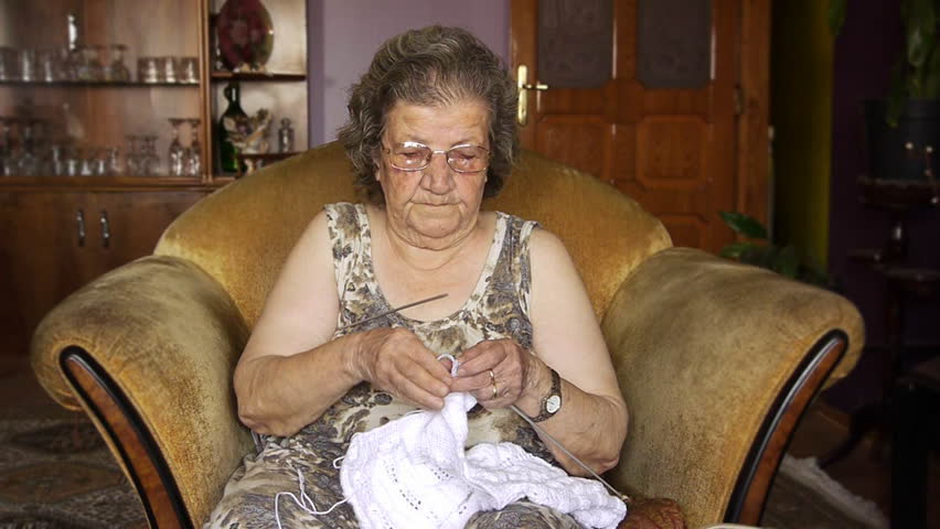 Old retired woman knitting in home - Retirement Home - Leisure - Relaxation  | Shutterstock HD Video #866542