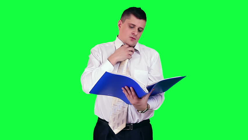Businessman under stress chroma key