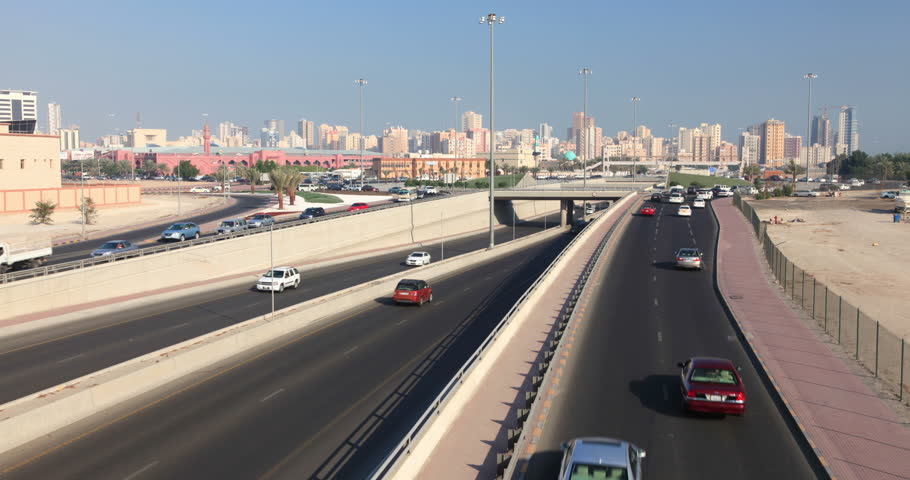 KUWAIT - DECEMBER 8: Traffic on the First Ring Road - a five lane city highway in Kuwait City. Time lapse video. December 8, 2014 in Kuwait, Middle East  - 4K stock video clip