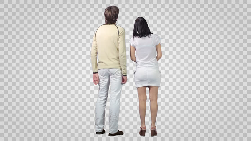 Male & Girl Standing And Looking At Something. Back View