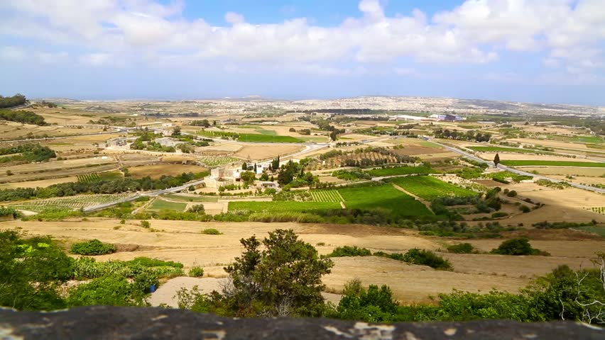 Panoramic view of the Maltese countryside on a windy day