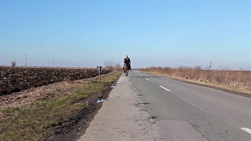 Man is riding a horse on rural landscape, road of asphalt/Rider - HD stock video clip