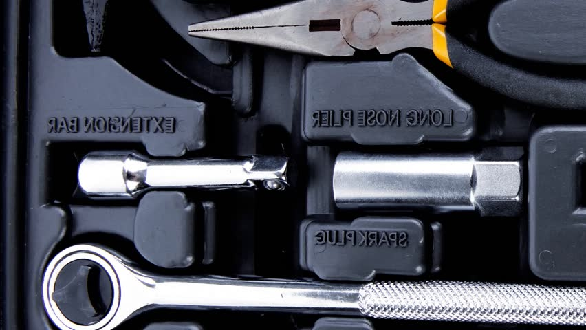 toolbox set of tools include hammer wrench bit driver pliers hex key bush level hex key 1920x1080 intro motion slow hidef hd