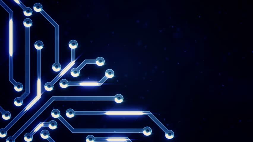 Dark Blue Circuit Board Electronic Hi-tech. Beautiful Chip ...