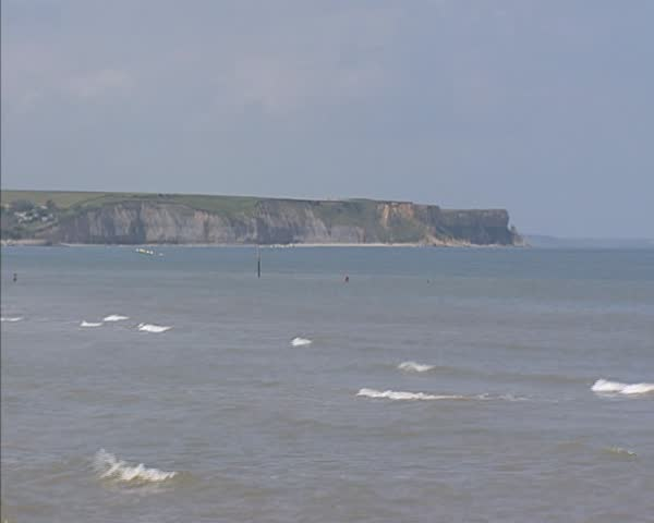 Steep Cliffs of Arromanches, Normandy. D-Day Gold Beach, Omaha Beach, code names for sectors of Operation Overlord, the Allied invasion of German-occupied France. - SD stock footage clip