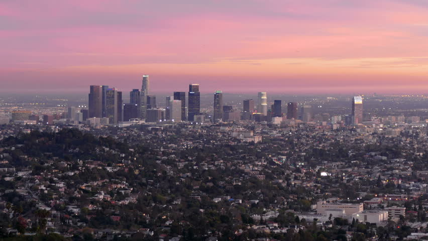 Downtown Los Angeles dusk to night cityscape time lapse view.   Shutterstock HD Video #8745259