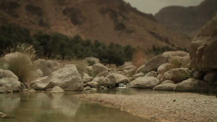 A lush oasis sits at the bottom of a mountain range in Oman   Shutterstock HD Video #8754124