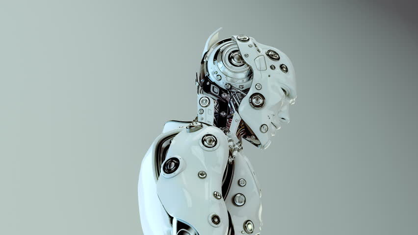 Futuristic humanoid robot/ Stylish robotic character slightly moving