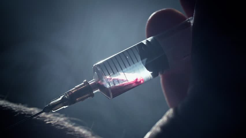 Male addict injects a syringe into a vein. Takes a blood sample. Heroin or meth. Social degradation, self-destruction of narcomaniac junkie. Real blood clip footage.  | Shutterstock HD Video #8768533