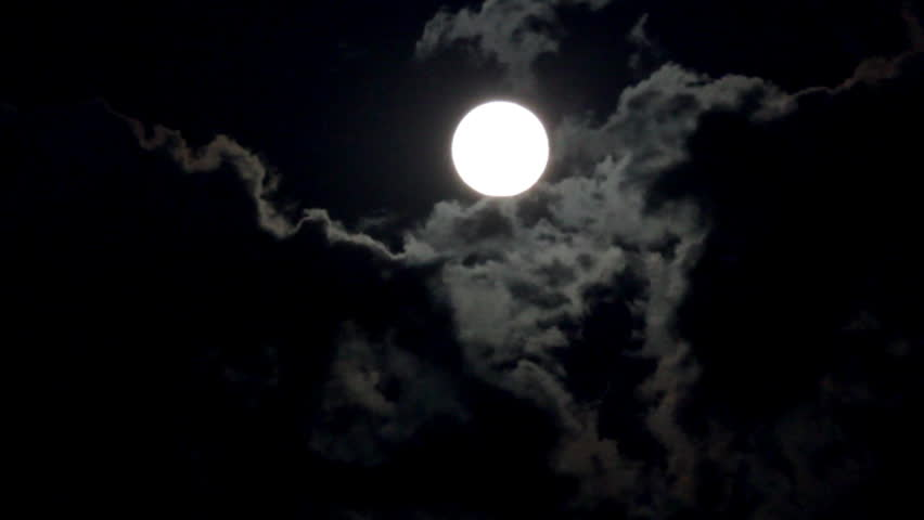 Timelapse with moon moving between clouds [best for web use] | Shutterstock HD Video #879709