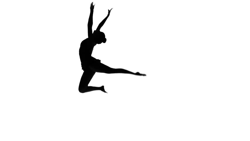 Beautiful young acrobat performs gymnastic stunt on a white background
