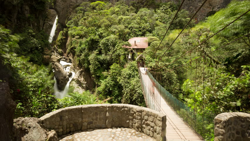 Tourists Come And Go, Pailon Del Diablo Waterfall Ecuador, Static Shot  - 4K stock footage clip