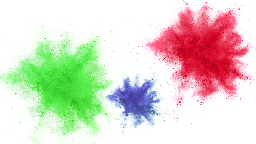 Colorful powder/particles fly after being exploded against white background. Shot with high speed camera, phantom flex 4K. Slow Motion. Unedited version is included at the end of clip. | Shutterstock HD Video #8824189