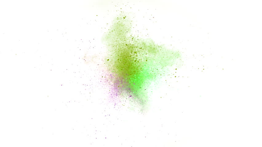 Colorful powder/particles fly after being exploded against white background. Shot with high speed camera, phantom flex 4K. Slow Motion. Unedited version is included at the end of clip.