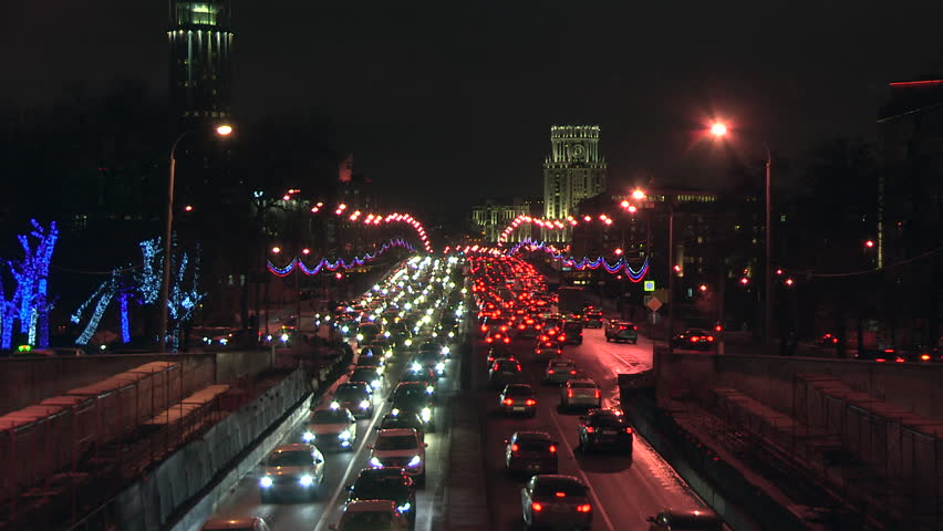 Moscow road traffic. Workday evening at Sadovoe koltso street. | Shutterstock HD Video #8824783