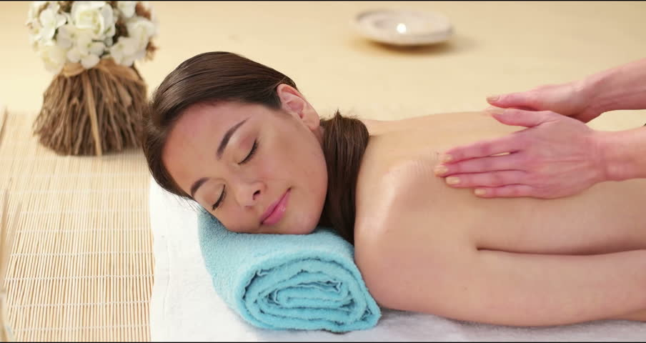 Woman Getting Back Massage In The Spa Stock Footage Video