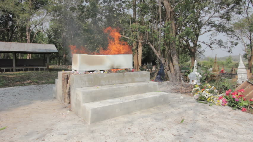 coffin burning on thai traditional crematorium - HD stock footage clip