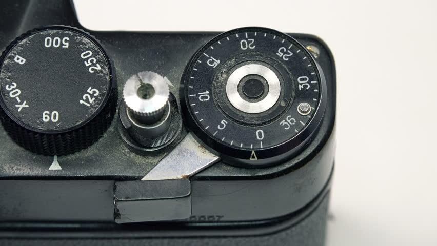 Photographer Pressing Shutter Button in Retro Photo Camera. 4K Ultra HD 3840x2160 Video Clip