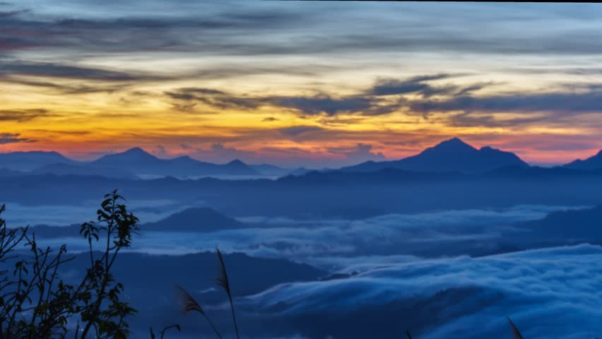 Beautiful View Of Fast Rolling Clouds Drifting Over Crocker Range. Soft Focus,Timelapse. Sabah, Malaysia | Shutterstock HD Video #8877505