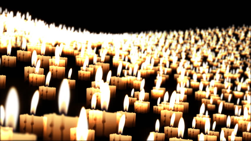 Candles in the night fly over, close up - HD stock video clip