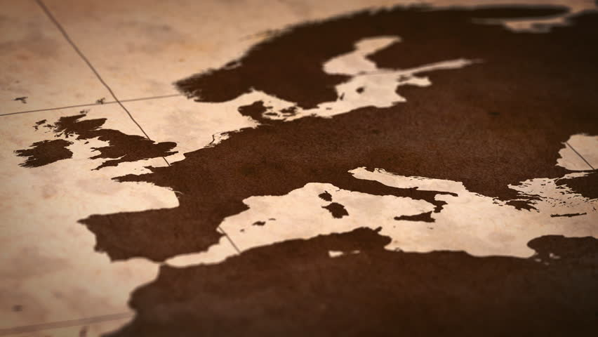 Old paper World Map, Macro, Europe.
