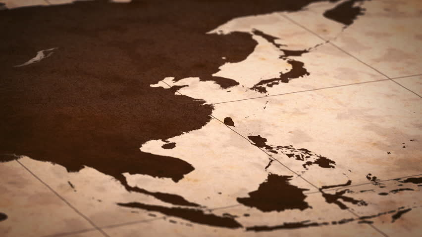 Old paper World Map, Macro, East Asia.
