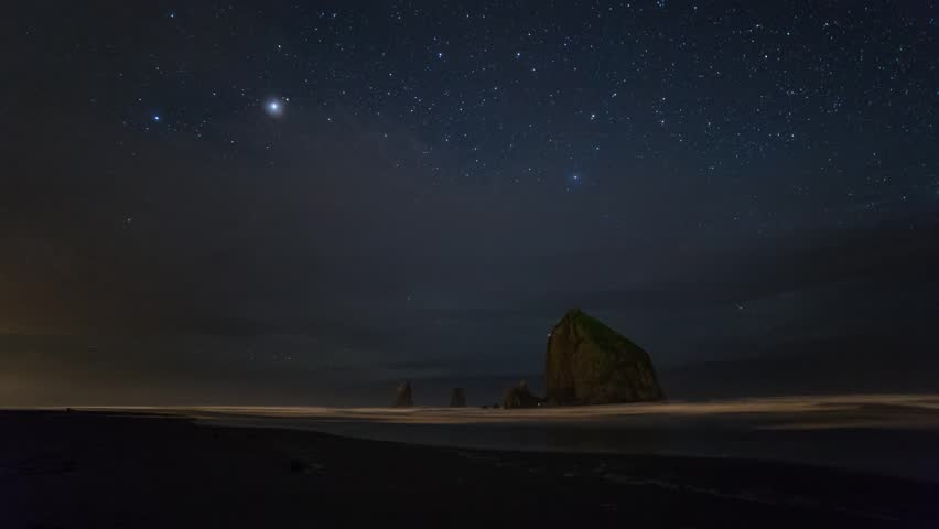 Time lapse of starry night by the ocean. Shot at Cannon Beach, Oregon