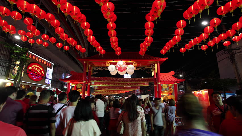 BANGKOK, THAILAND - FEBRUARY 19, 2015: chinese new year celebration timelapse