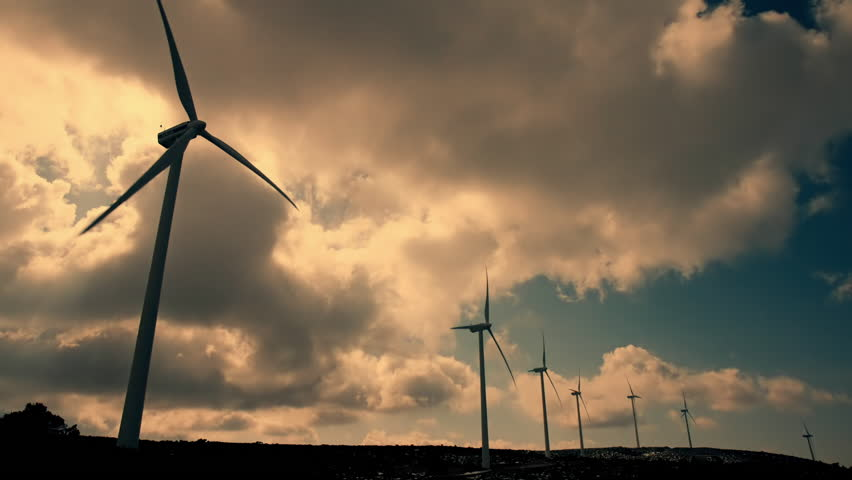 A series of real time hd clips of wind turbines at a mountain site generating clean renewable energy. - HD stock video clip