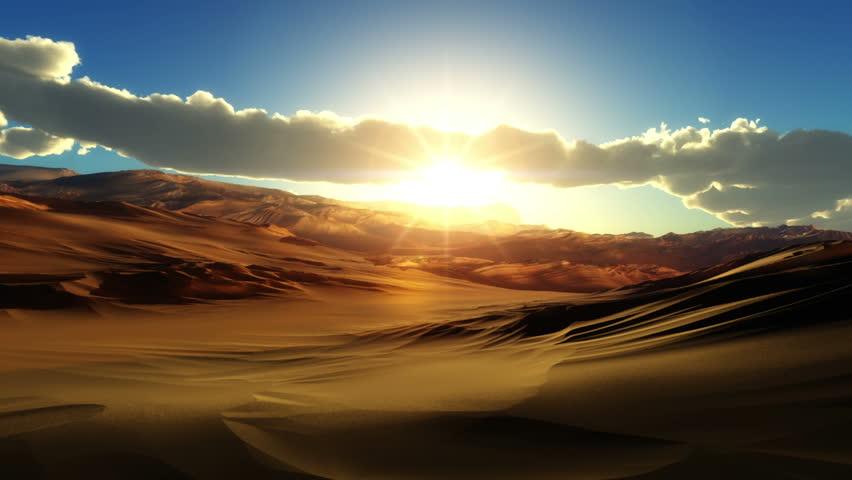 fly over desert sunset