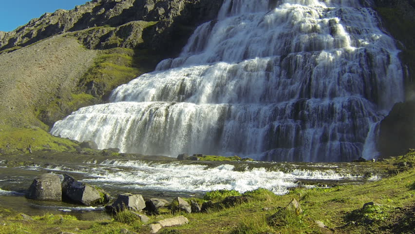 Waterfall Dynjandifoss in Westfjords, Iceland - HD stock footage clip