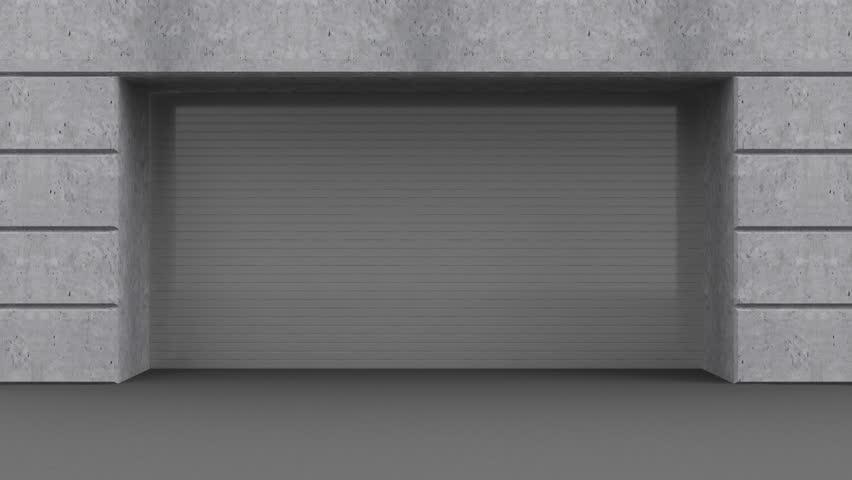 4k Animation Of Opened Garage Roller Door With Different