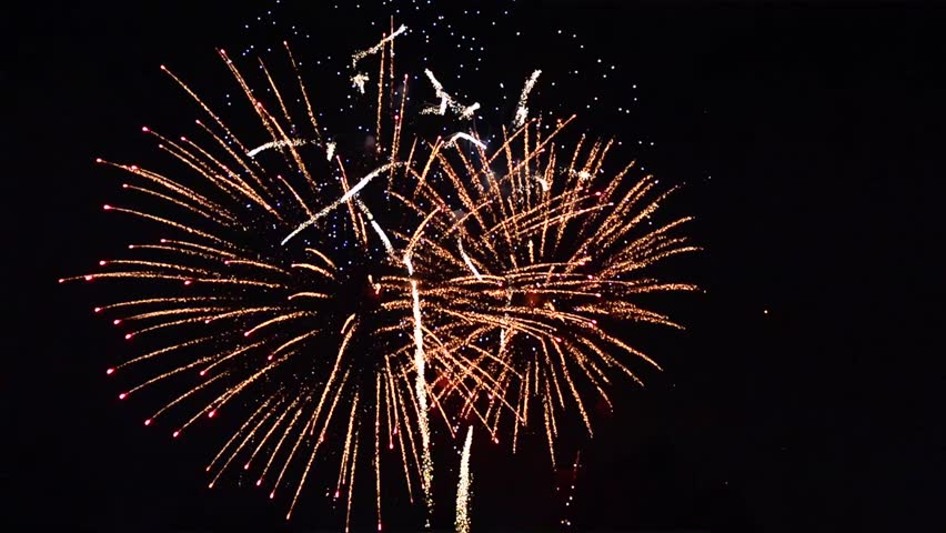 Fireworks Grand Finale Over Black Background Stock Footage ...