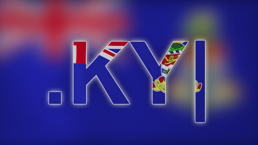 "KY - internet domain of Cayman Islands. Typing top-level domain "".KY"" against blurred waving national flag of Cayman Islands. Highly detailed fabric texture for 4K resolution. Clip ID: ax862c"