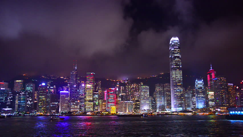 Hong Kong, China nighttime skyline footage. | Shutterstock HD Video #8999338