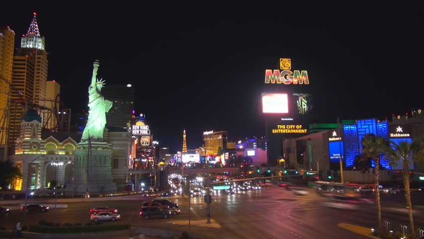 LAS VEGAS - USA, MARCH 28, 2013, Timelapse of aerial view of busy intersection on Strip by night  | Shutterstock HD Video #9000625