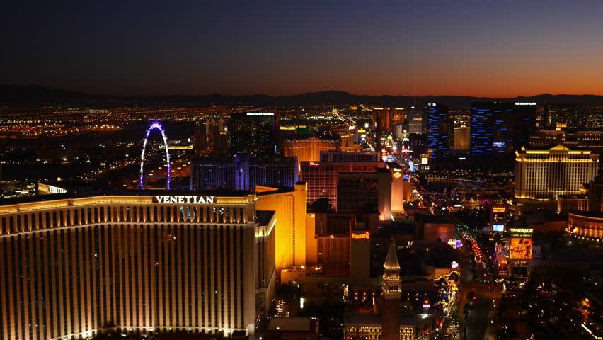 Las Vegas, Nevada, USA - November 26, 2014: Aerial view of Las Vegas Strip at night   Shutterstock HD Video #9002002