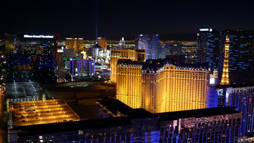Las Vegas, Nevada, USA - November 26, 2014: Aerial view of Las Vegas Strip at night | Shutterstock HD Video #9002065