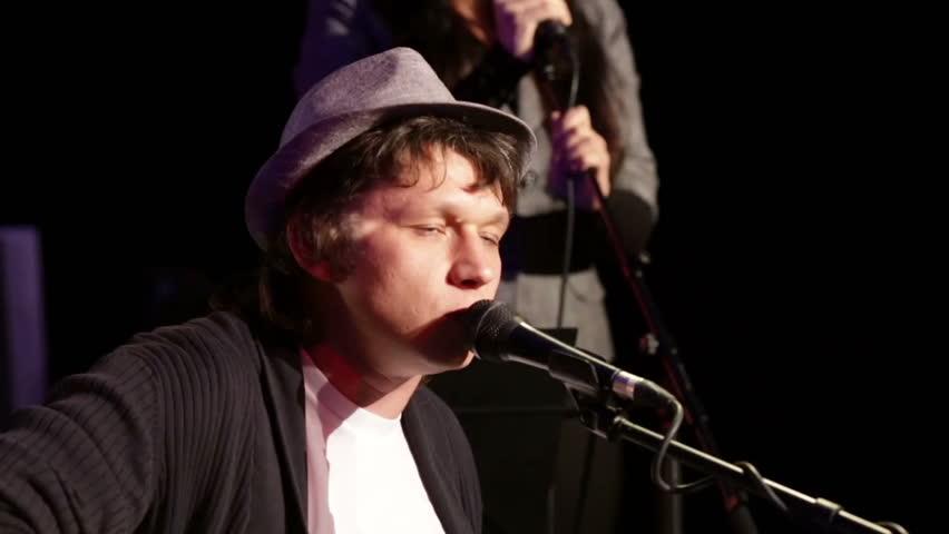 Rock singer on stage