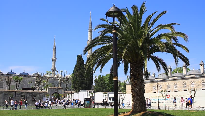 ISTANBUL - MAY 16, 2013: Blue Mosque in Springtime, Istanbul, Turkey. HD quality video. Pan to Blue Mosque at Sultanahmet