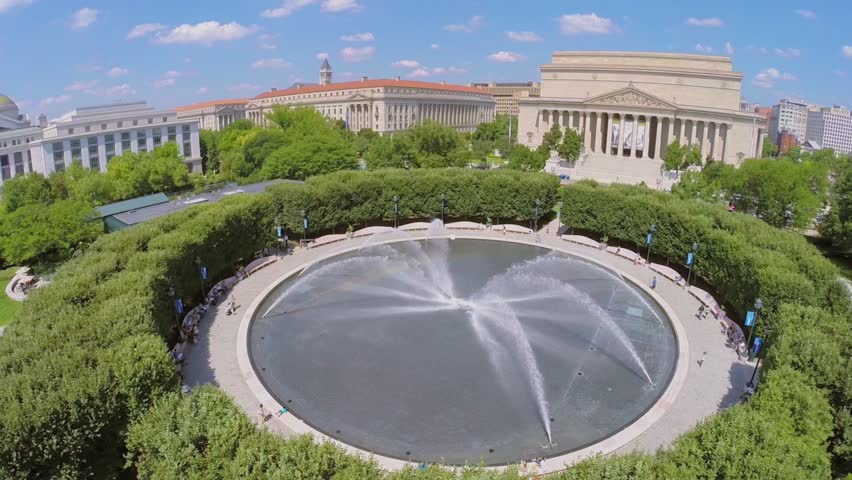 Washington Aug 26 2014 Panorama Of National Gallery Of Art Sculpture Garden With Fountain