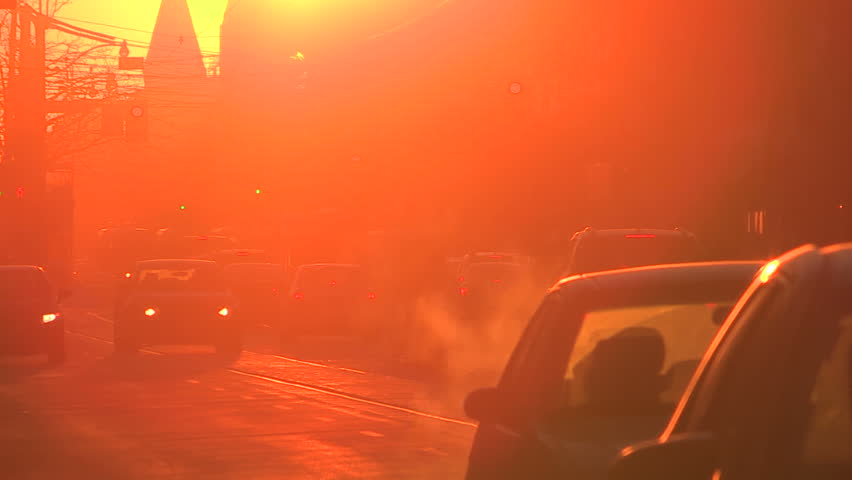 Dusty downtown urban city streets of Toronto near sunset - HD stock footage clip