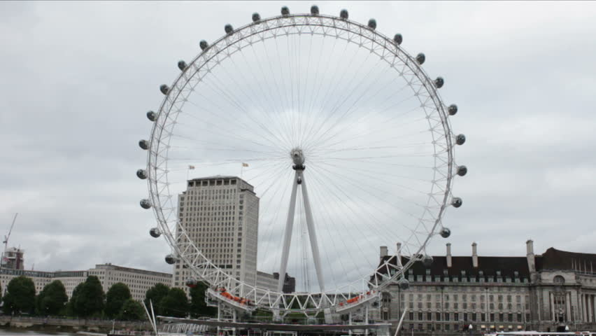 LONDON, UK - CIRCA JUNE 2014: View of London Eye. - HD stock footage clip