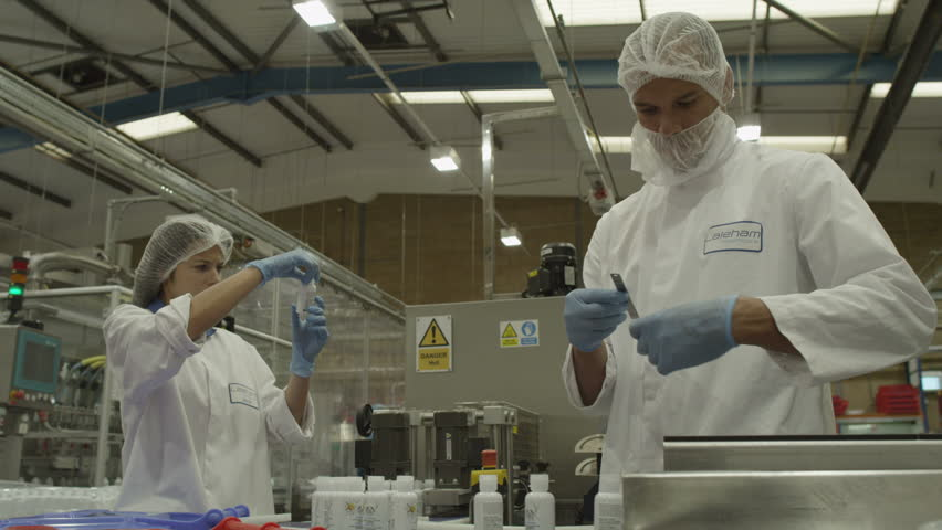 4k quality control workers in pharmaceutical factory