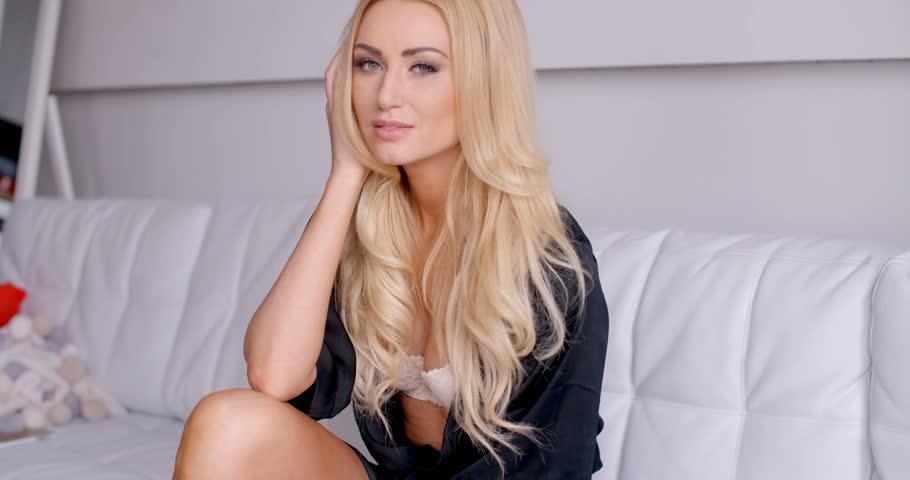Beautiful Blonde Model Panties Wearing Stock Photos