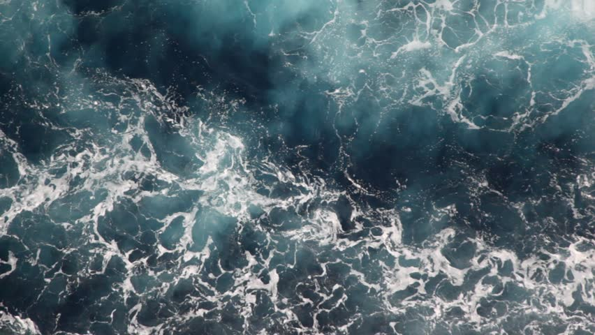 Foam Water Of Sea, Top View From Moving Ship Stock Footage