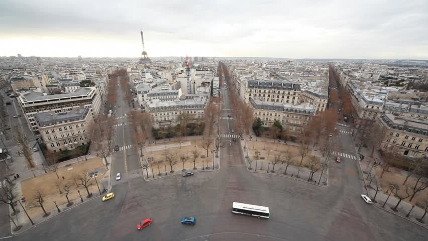 Eiffel Tower in Paris city, view from Triumphal Arch | Shutterstock HD Video #912226